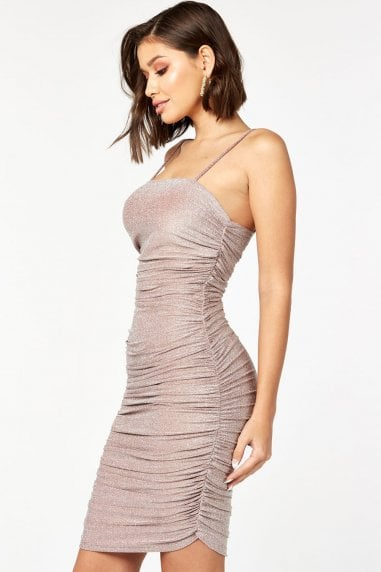 Mink Glitter Lurex Ruched Mini Dress