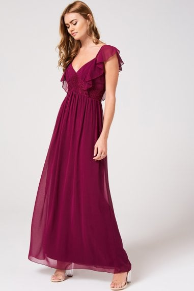 Nikki Mulberry Lace And Frill Maxi Dress