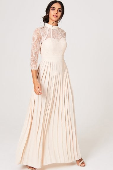 Emmy Nude Lace Pleated Maxi Dress