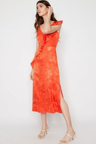 Orange Palm Jacquard Frill Cami Dress