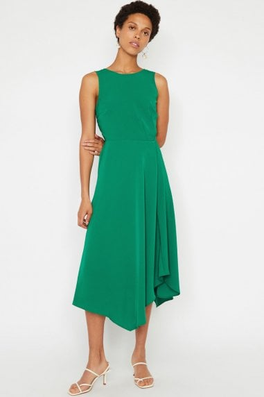 Bright Green Tie Back Midi Dress