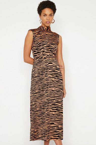 Mix Zebra Print High Neck Dress