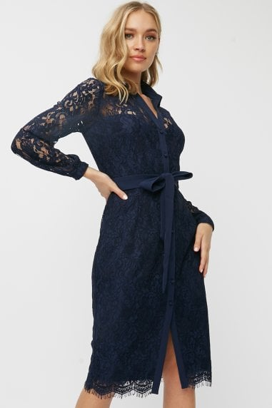 Grosvenor Navy Lace Midi Shirt Dress