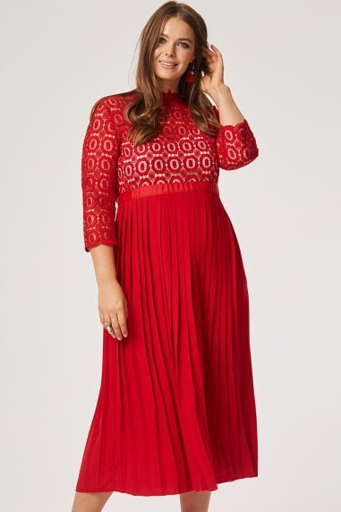 Alice Red 3/4 Sleeve Crochet Top Midaxi Dress With Pleated Skirt