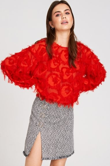 Sade Red Fringe Top