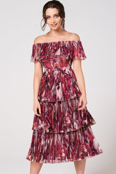 Marlowe Floral Bardot Pleated Midi Dress