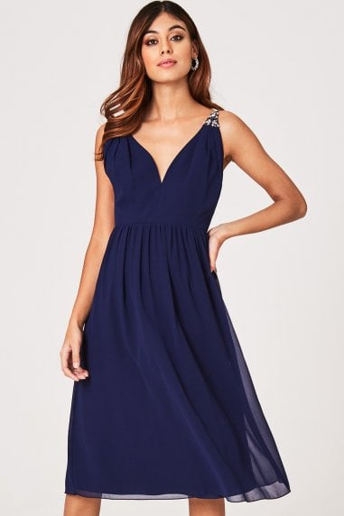 Sacha Navy Hand-Embellished Cami Strap Midi Dress