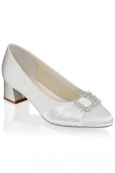 Britney Ivory Wide Fit Low Heel Court Shoes