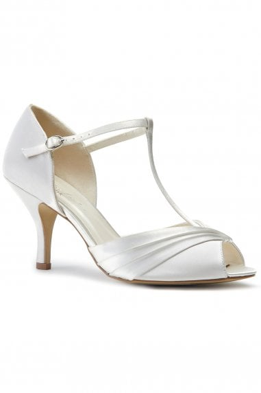 Belvoir Ivory Low Heel T-Bar Peep Toe Shoes