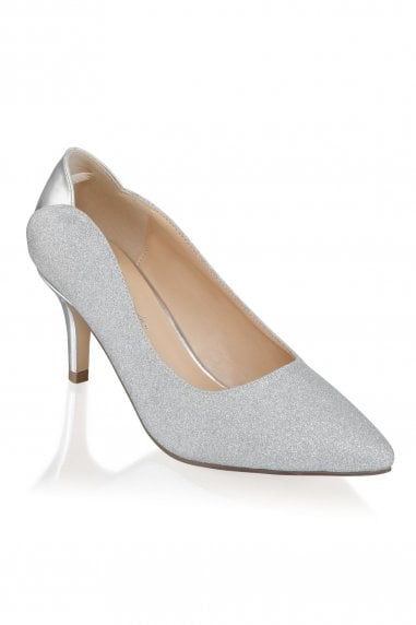 Fabrizia Silver Wide Fit Mid Heel Court Shoes