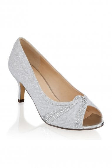 Gigi Silver Extra Wide Fit Mid Heel Peep Toe Shoes