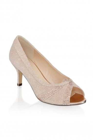 Gigi Champagne Extra Wide Fit Mid Heel Peep Toe Shoes