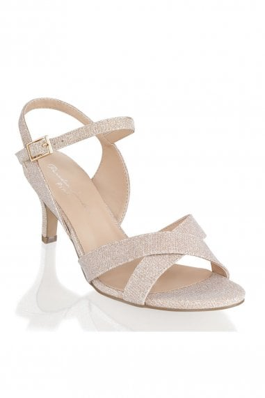 Haniya Champagne Extra Wide Fit Mid Heel Ankle Strap Sandals