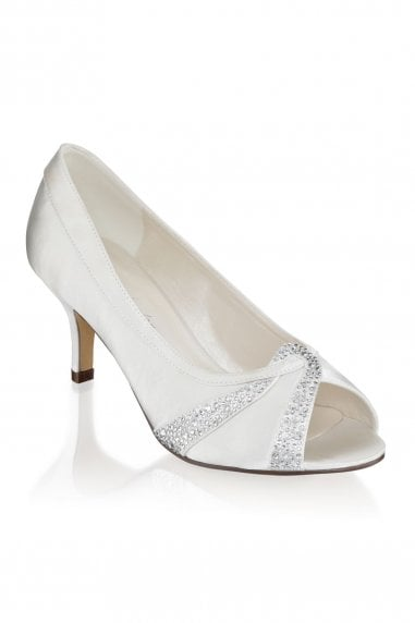 Gigi Ivory Extra Wide Fit Mid Heel Peep Toe Shoes