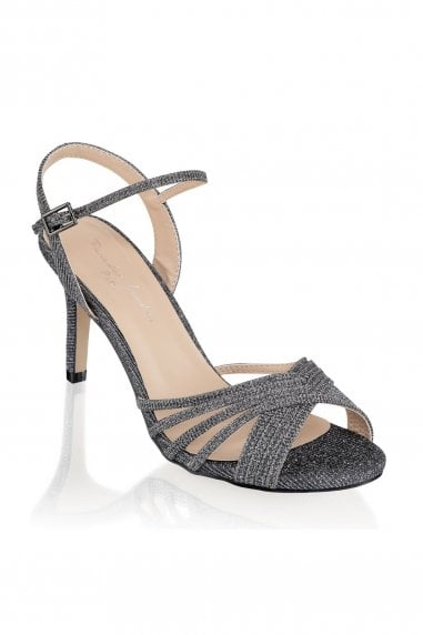 Harsha Pewter Mid Heel Ankle Strap Sandals