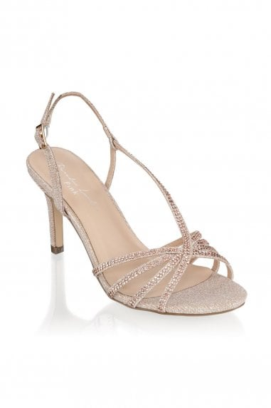 Hattice Champagne Mid Heel Ankle Strap Caged Sandals