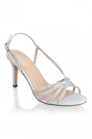 Hattice Silver Mid Heel Ankle Strap Caged Sandals