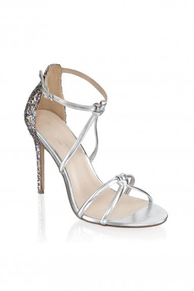 Helena Silver Glitter Detail High Heel Sandals