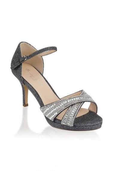 Haven Pewter Wide Fit Mid Heel Platform Ankle Strap Sandals