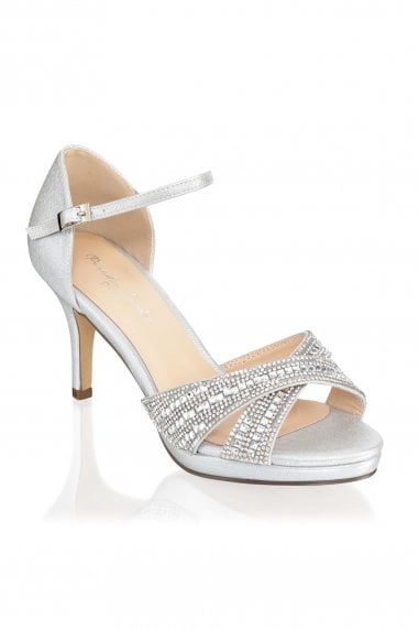 Haven Silver Wide Fit Mid Heel Platform Ankle Strap Sandals