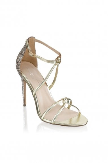 Helena Champagne Glitter Detail High Heel Sandals
