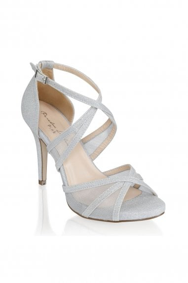 Hinoa Silver High Heel Ankle Strap Sandals