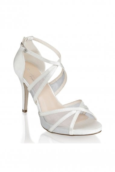 Hinoa Ivory High Heel Ankle Strap Sandals