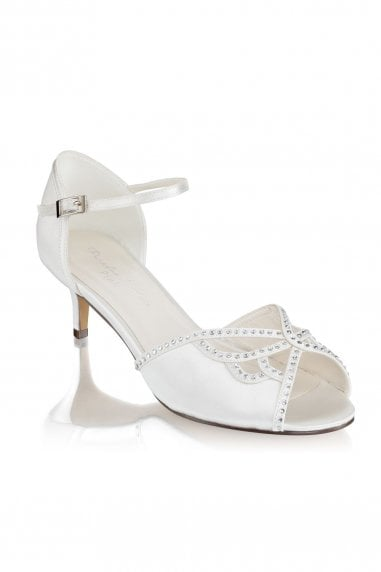 Hisaki Ivory Extra Wide Fit Mid Heel Ankle Strap Sandals