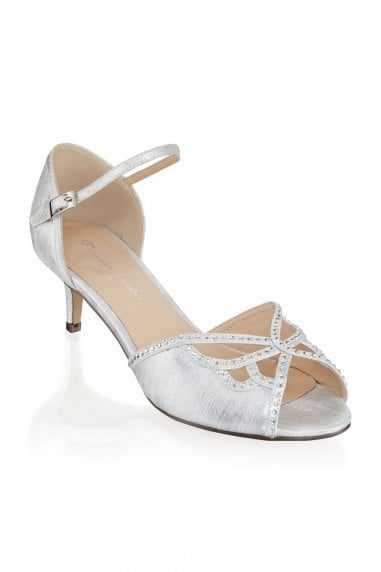 Hisaki Silver Extra Wide Fit Mid Heel Ankle Strap Sandals