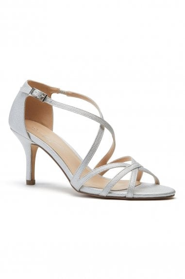 Lydia Silver Mid Heel Ankle Strap Sandals
