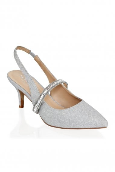 Petunia Silver Low Heel Crystal Strap Slingback Shoes
