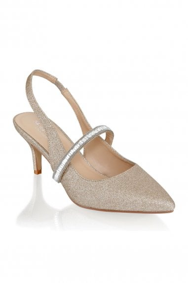 Petunia Champagne Low Heel Crystal Strap Slingback Shoes