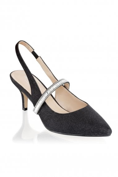 Petunia Black Low Heel Crystal Strap Slingback Shoes