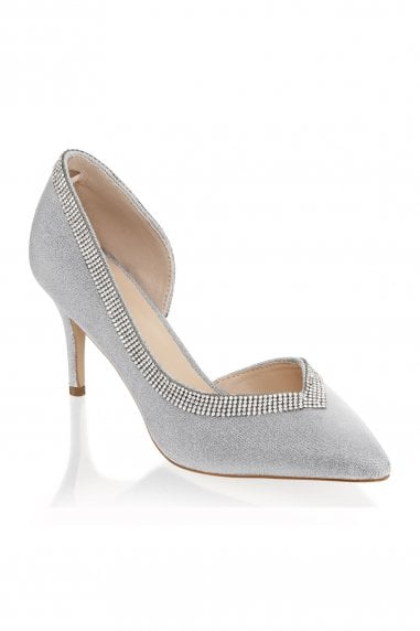 Page Silver Low Heel Open Court Shoes