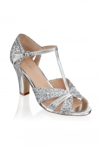 Reanne Silver Low Heel Strappy Peep Toe Shoes