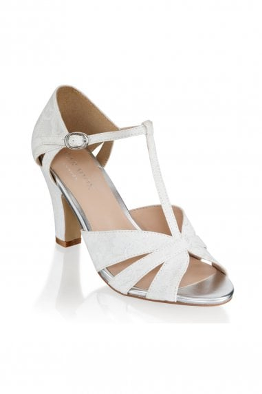 Reanne Ivory Low Heel Strappy Peep Toe Shoes