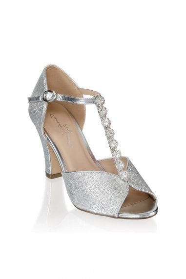 Rosie Silver Low Heel T-Bar Peep Toe Shoes