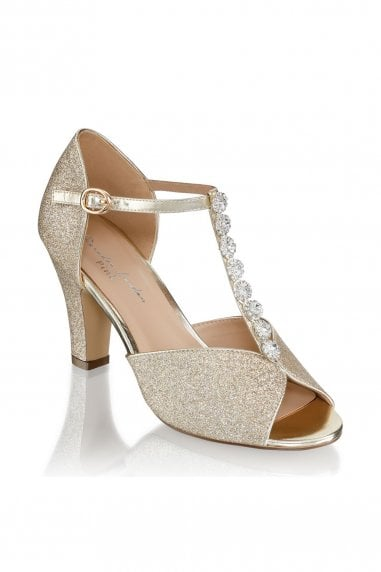 Rosie Champagne Low Heel T-Bar Peep Toe Shoes
