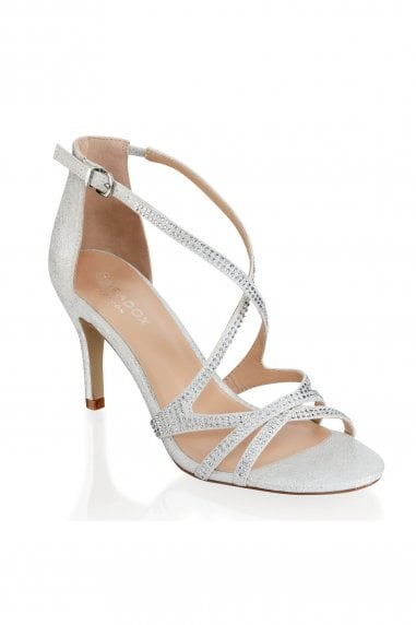 Romelia Silver Low Heel Crossover Strappy Sandals