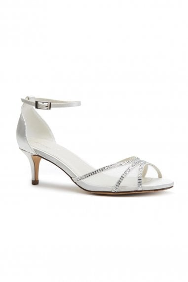 Luna Ivory Extra Wide Fit Low Heel Ankle Strap Sandals
