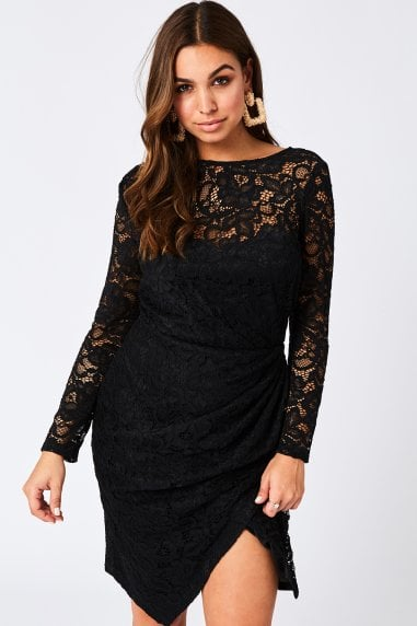 Ama Black Ruched Lace Dress