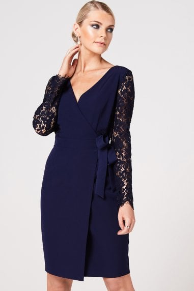 Sapporo Navy Lace Sleeve Wrap Dress