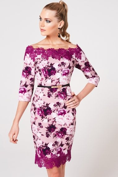 Pembroke Dusty Blush Floral-Print Belted Bardot Dress