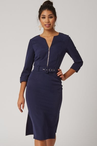 Nomi Navy Self Belt Pencil Dress