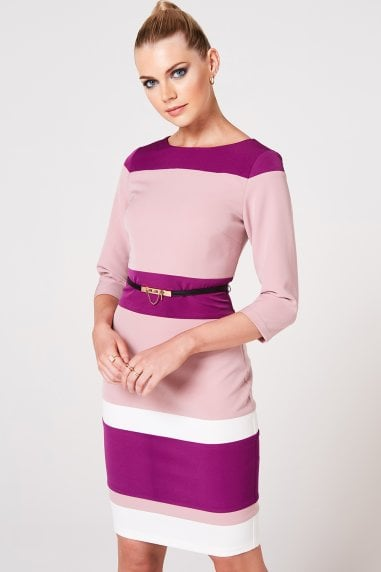 Callow Dusty Blush And Orchid Colour Block Belted Dress
