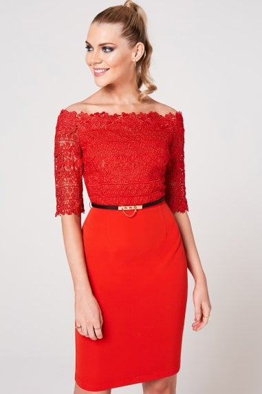 Anika Tomato Crochet Belted Bardot Dress