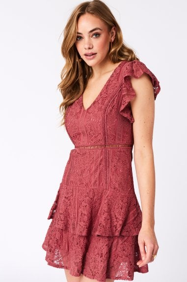 Sensation Deep Rose Lace Frill Mini Dress