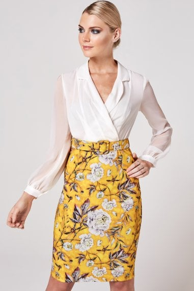 Anjo Mustard Floral-Print Belted Shirt Dress