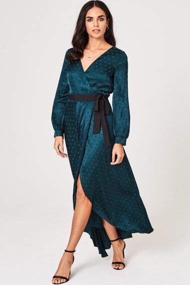 Tasmin Green Polka-Dot Asymmetric Maxi Wrap Dress