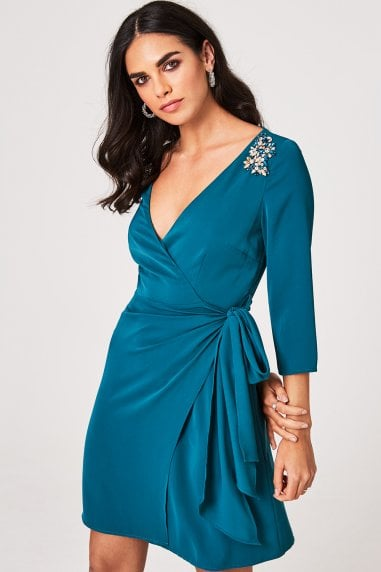 Anja Kingfisher Hand-Embellished Mini Wrap Dress